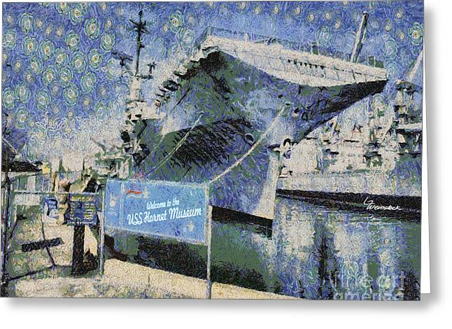 Greeting Card featuring the painting Alameda Uss Hornet Aircraft Carrier by Linda Weinstock