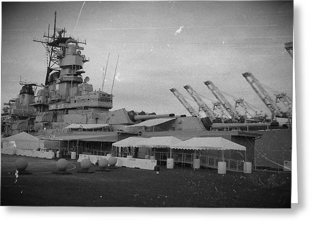 Uss Iowa Black And White Greeting Card