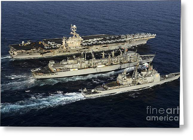 Uss John C. Stennis, Uss Mobile Bay Greeting Card by Stocktrek Images