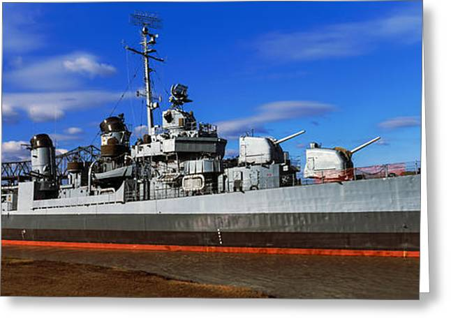 Uss Kidd Navy Ship At A Memorial, Uss Greeting Card by Panoramic Images