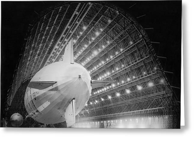 Uss Macon In Hangar One Greeting Card by Underwood Archives