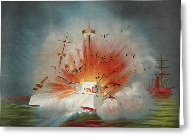 Uss Maine Circa 1898  Greeting Card by Aged Pixel