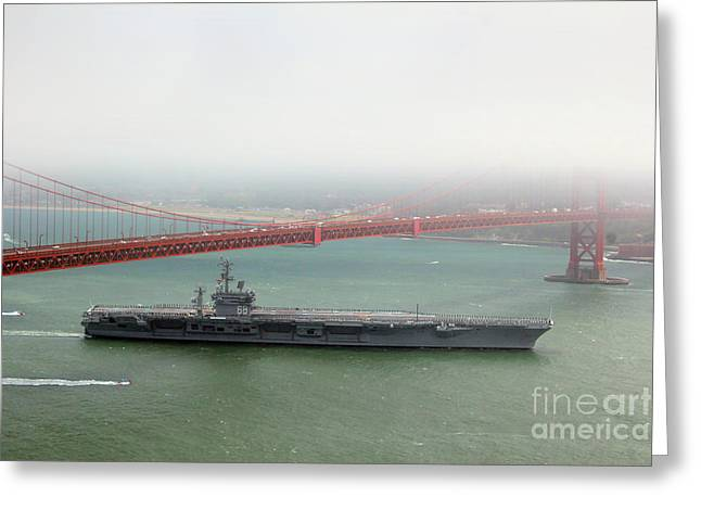 Uss Nimitz Cvn-68 Golden Gate Bridge Greeting Card