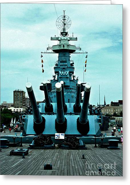 Uss North Carolina Greeting Card by Tommy Anderson