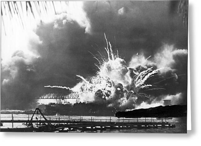Uss Shaw Explodes Greeting Card by Underwood Archives