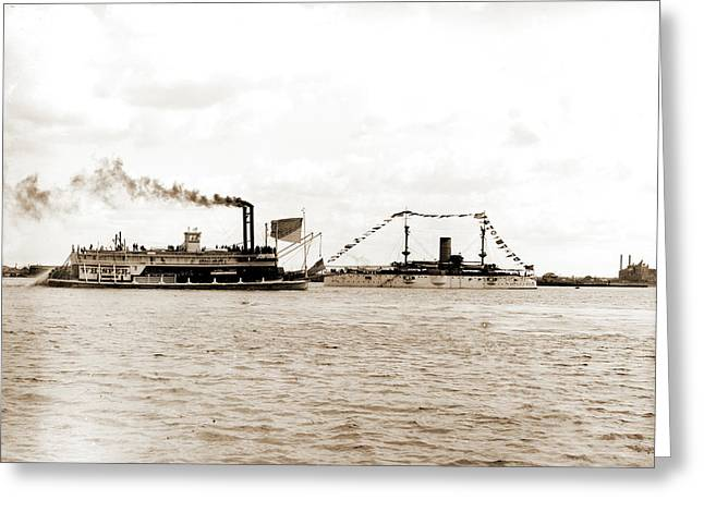U.s.s. Texas And The Whisper, Texas Battleship Greeting Card