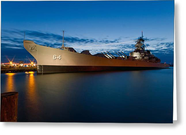Uss Wisconsin At Sunset Greeting Card by Jerry Gammon