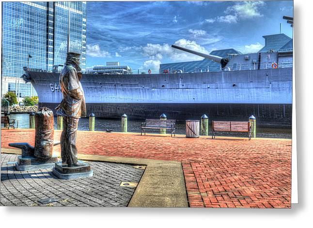 Uss Wisconsin Bb 64 And The Lone Sailor Greeting Card
