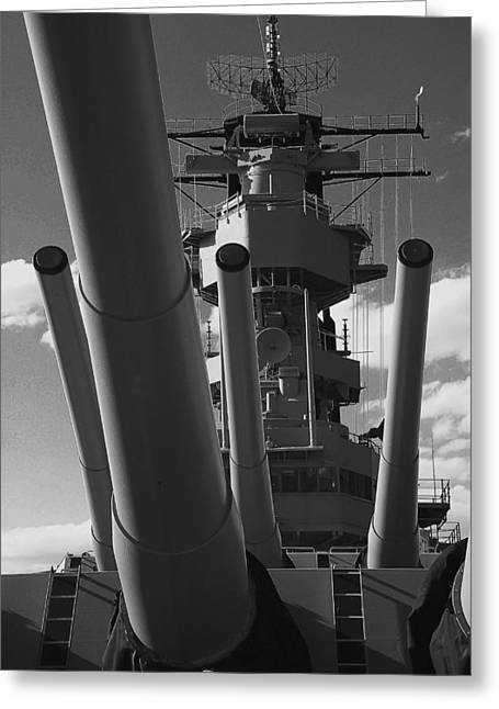 Uss Wisconsin Greeting Card by Gene Myers