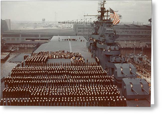 Uss Yorktown Crew Stands At Attention Greeting Card by Stocktrek Images