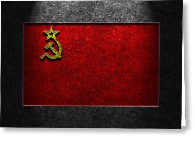 Greeting Card featuring the digital art Ussr Flag Stone Texture by The Learning Curve Photography