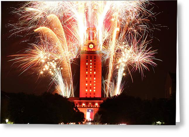 Ut Tower 2013 Fireworks Greeting Card