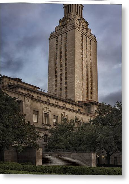 University Of Texas Tower Dawn Greeting Card by Joan Carroll