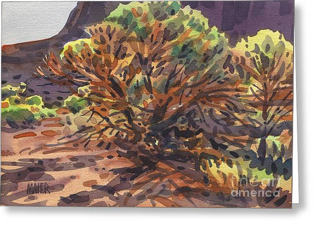 Greeting Card featuring the painting Utah Juniper by Donald Maier