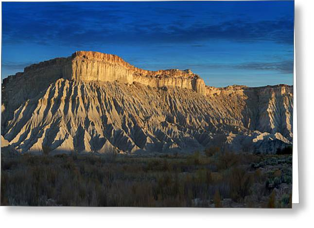 Sunset Scene Greeting Cards - Utah Outback 40 Panoramic Greeting Card by Mike McGlothlen