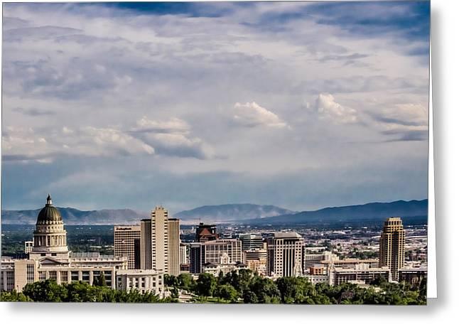 Utah State Capital Temple Greeting Card by La Rae  Roberts
