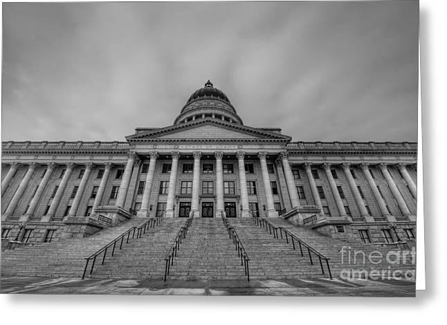 Utah State Capitol Building Bw Greeting Card