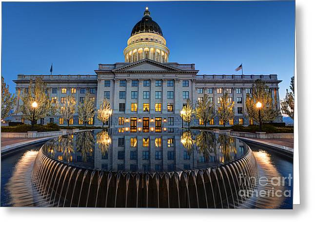 Utah State Capitol In Reflecting Fountain At Dusk Greeting Card