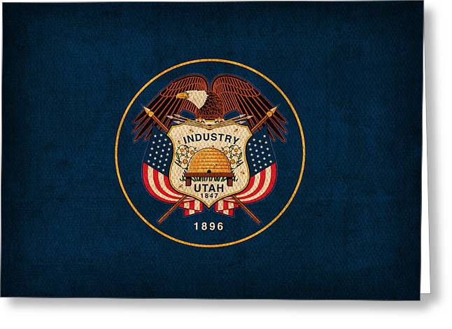 Utah State Flag Art On Worn Canvas Greeting Card by Design Turnpike