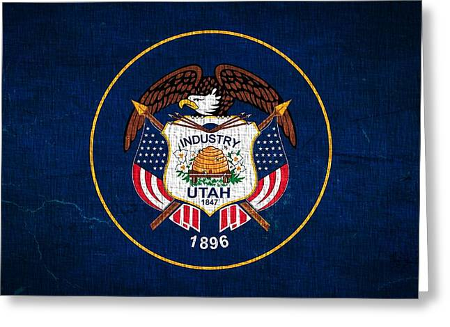 Utah State Flag On Canvas Greeting Card by Dan Sproul