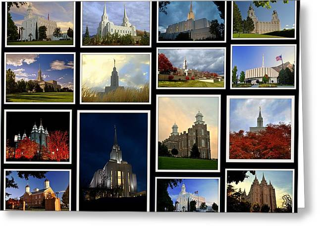 Utah Temples Collage Greeting Card by Nathan Abbott