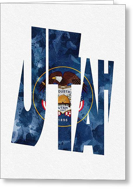 Utah Typographic Map Flag Greeting Card by Ayse Deniz