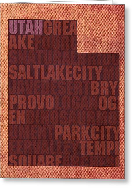 Utah Word Art State Map On Canvas Greeting Card by Design Turnpike