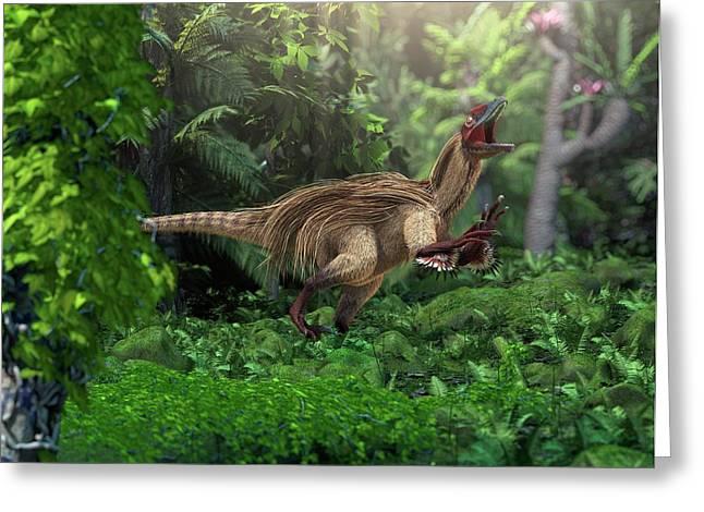 Utahraptor Dinosaur Greeting Card by Roger Harris