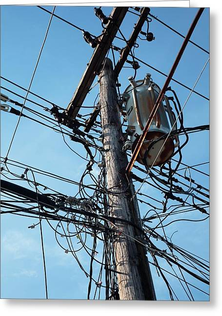 Utility Pole Greeting Card by Jim West