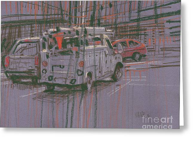 Greeting Card featuring the painting Utility Truck by Donald Maier