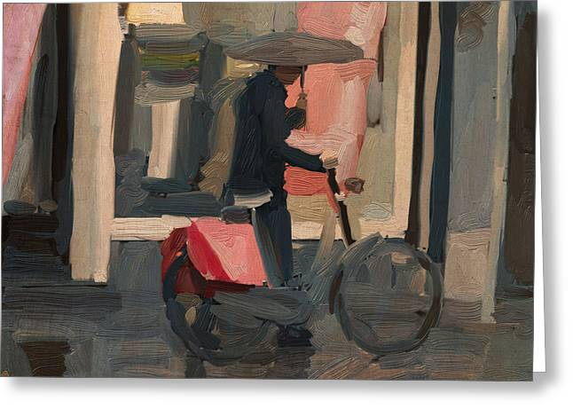 Greeting Card featuring the painting Utrecht - Cycler In The Rain by Nop Briex