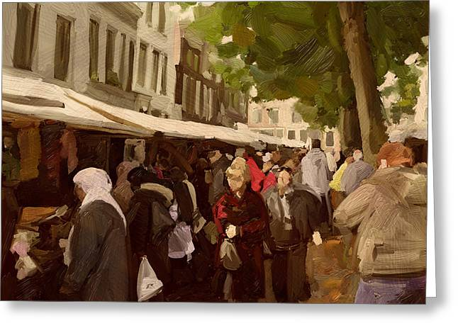Greeting Card featuring the painting Utrecht - The Saturday's Fabrics Market by Nop Briex