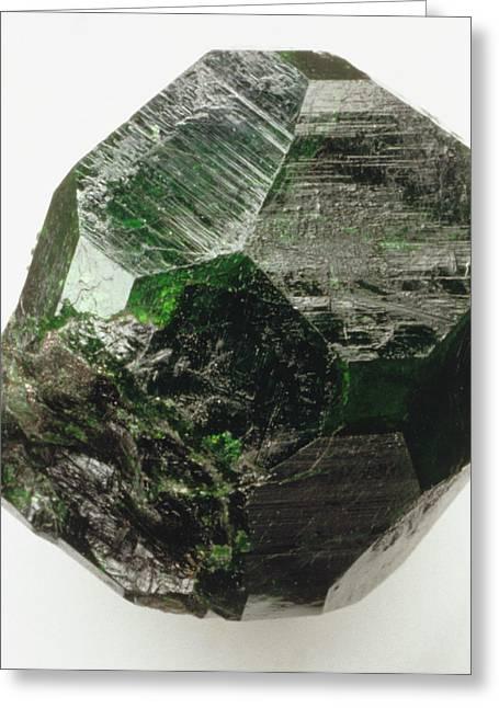 Uvarovite (garnet) Crystal Greeting Card by Dorling Kindersley/uig
