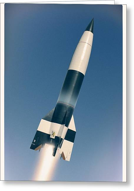V-2 Rocket Launch, Artwork Greeting Card by Science Photo Library