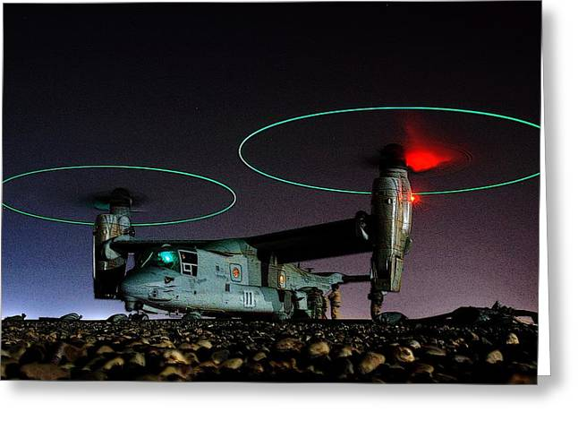 V 22 Osprey Refueling Before Night Mission Central Iraq II Greeting Card by US Navy - L Brown