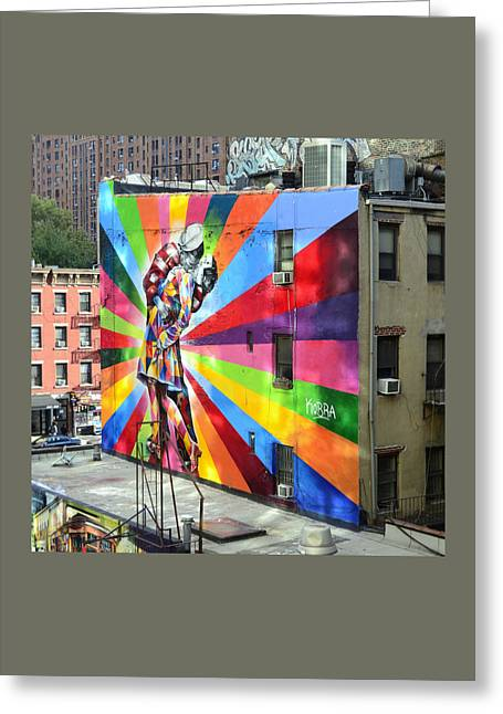 V - J Day Mural By Eduardo Kobra Greeting Card