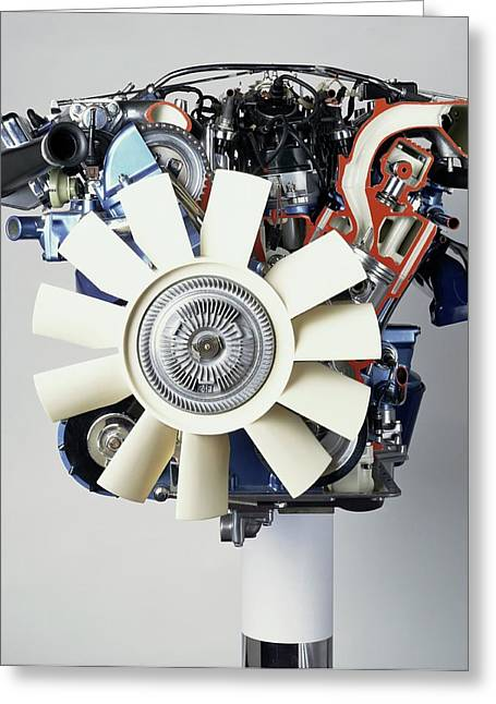V12 Petrol Engine Greeting Card
