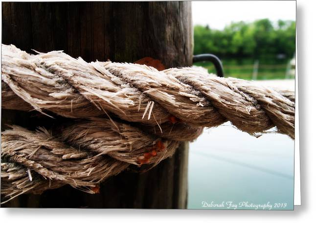V2- Weathered Rope On The Dock  Greeting Card by Deborah Fay