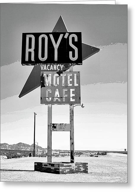 Vacancy Bw Route 66 Greeting Card by William Dey