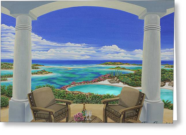 Greeting Card featuring the painting Vacation View by Jane Girardot