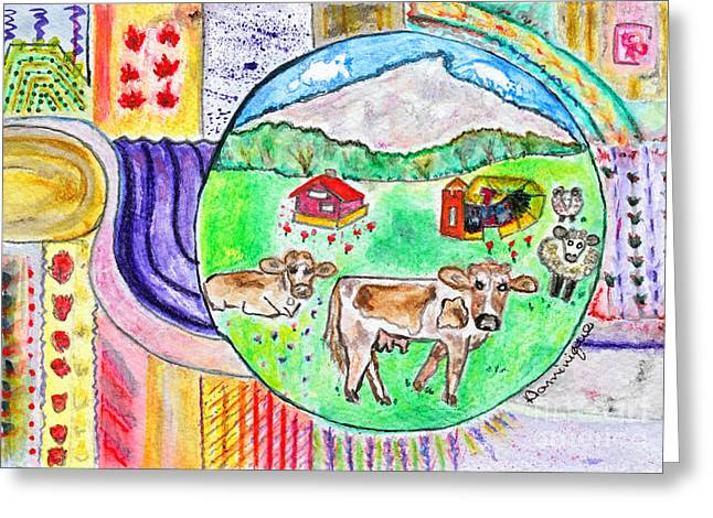 Vaches Et Moutons / Cows And Sheeps Greeting Card