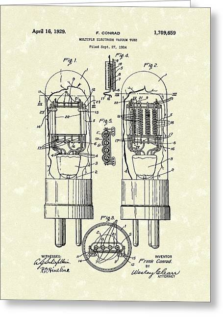 Vacuum Tube 1929 Patent Art Greeting Card by Prior Art Design