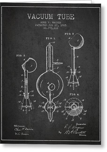 Vacuum Tube Patent From 1905 - Charcoal Greeting Card by Aged Pixel