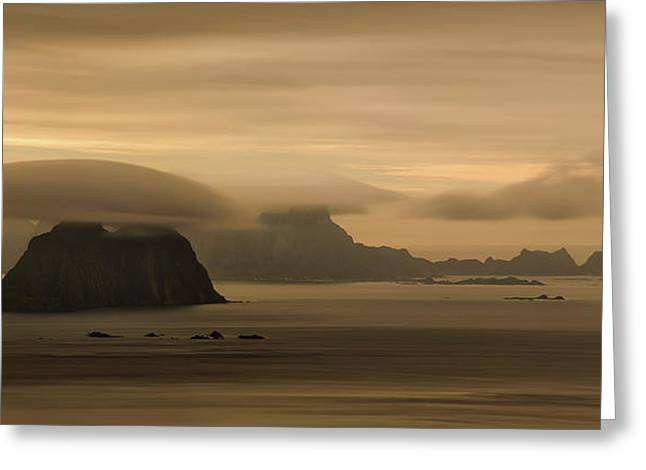 Vaeroy Islands At Cloudy Sunset Greeting Card