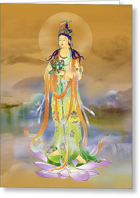 Vaidurya  Kuan Yin Greeting Card by Lanjee Chee