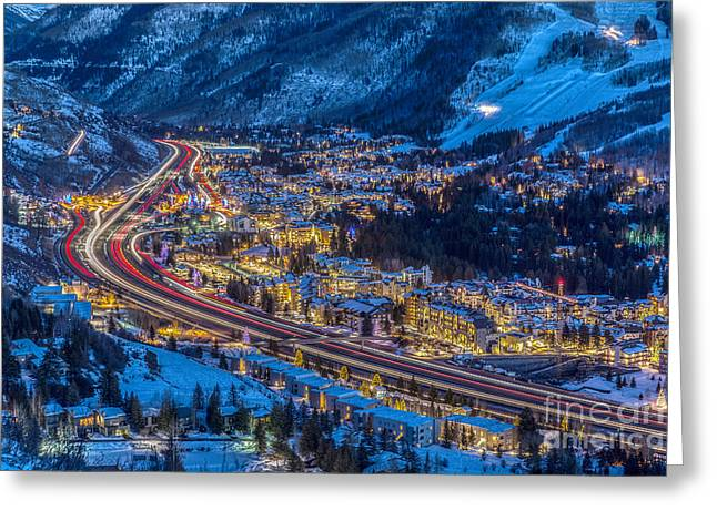 Vails Night Traffic Greeting Card
