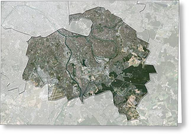 Val-de-marne, France, Satellite Image Greeting Card by Science Photo Library
