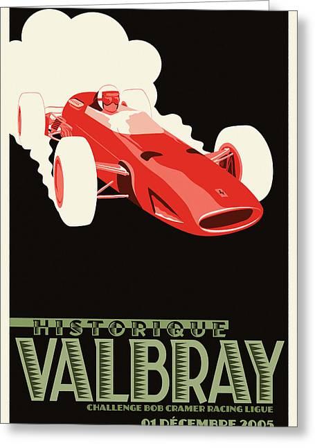 Valbray Historic Grand Prix Greeting Card by Georgia Fowler