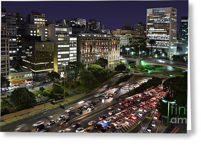 Vale Do Anhangabau By Night - Paulistano Downtown Icons Greeting Card