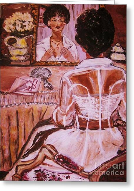 Greeting Card featuring the painting Valentina by Helena Bebirian